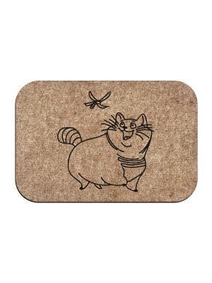 Коврик придверный Кот и стрекоза MoiKovrik. Цвет: темно-бежевый