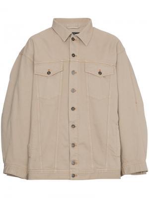 Джинсовая куртка с двойными рукавами Y / Project. Цвет: коричневый