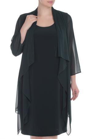 Платье прямого покроя с накидкой Elena Miro. Цвет: темно-зеленый