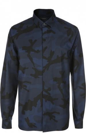 Принтованная рубашка с воротником кент Valentino. Цвет: темно-синий