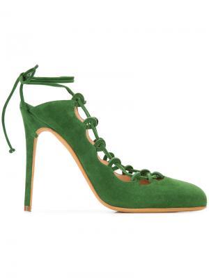 Босоножки на шнуровке Alexa Wagner. Цвет: зелёный