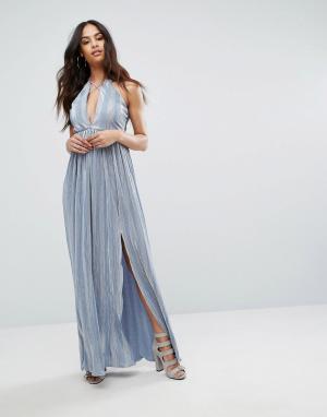 Rare Платье макси с лямками и двумя разрезами London. Цвет: синий