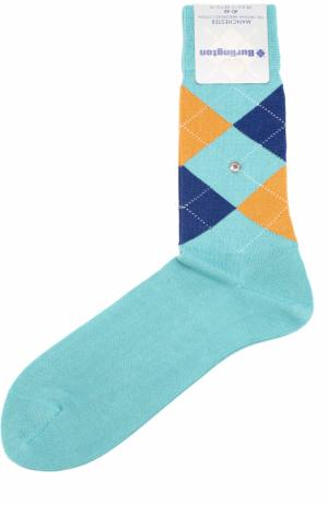 Хлопковые носки Manchester Burlington. Цвет: бирюзовый
