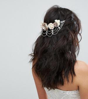 Ribbon and Asher Украшение для волос с розами и стразами &. Цвет: золотой