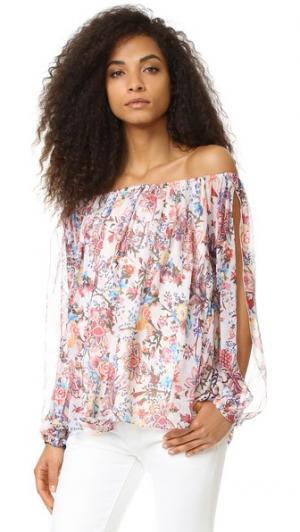 Блуза с открытыми плечами Haute Hippie. Цвет: цветочный узор «павлиний глаз»