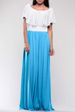 Платье REBECCA TATTI. Цвет: бело-голубой