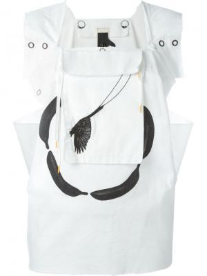 Блузка B-Word с карманом-подвеской Bernhard Willhelm. Цвет: белый