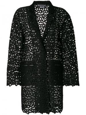 Пиджак с вышивкой ришелье Boutique Moschino. Цвет: чёрный
