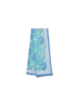 Полотенце Hippocampe turquoise-blue /Морской конек бирюзовый-синий/ 50*80см, 100% хлопок Mas d'Ousvan. Цвет: морская волна