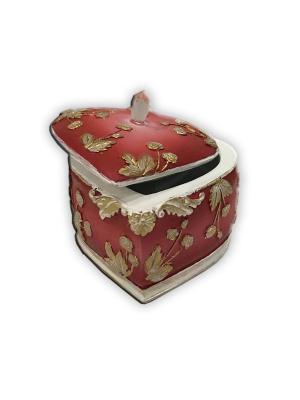 Шкатулка декоративная Бордовая из полирезины, 7х7х6см Magic Home. Цвет: бордовый, золотистый