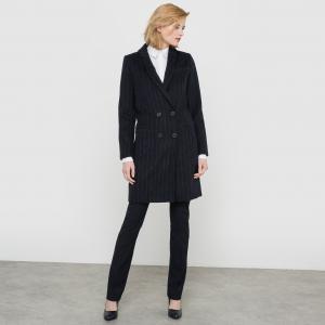 Пальто из шерстяного драпа, 53% шерсти La Redoute Collections. Цвет: в полоску