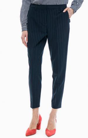 Трикотажные укороченные брюки в полоску b.young. Цвет: синий