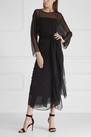 Шелковое платье Cyrille Gassiline. Цвет: черный