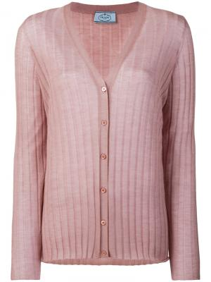 Кардиган в рубчик Prada. Цвет: розовый и фиолетовый