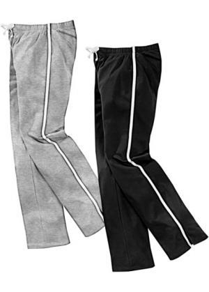 Спортивные брюки (2 шт.) (черный/серый меланж) bonprix. Цвет: черный/серый меланж