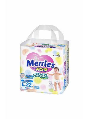 Трусики-подгузники для детей размер L 9-14кг, 22шт MERRIES. Цвет: белый