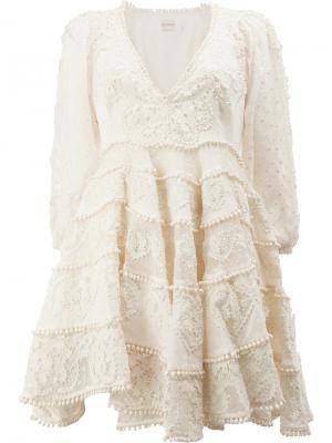 Ажурное кружевное платье Zimmermann. Цвет: телесный