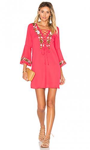 Платье с рукавами-колоколами dina VAVA by Joy Han. Цвет: красный