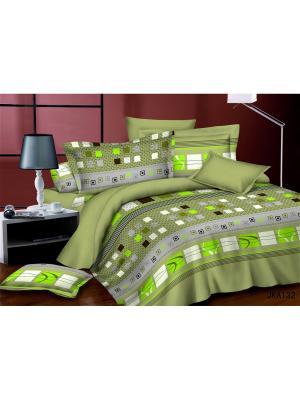 Комплект постельного белья евро, поплин BegAl. Цвет: зеленый