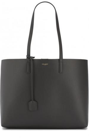 Кожаная сумка-шоппер с косметичкой Saint Laurent. Цвет: темно-серый