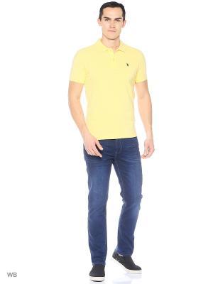 Футболка-поло U.S. Polo Assn.. Цвет: желтый, светло-оранжевый