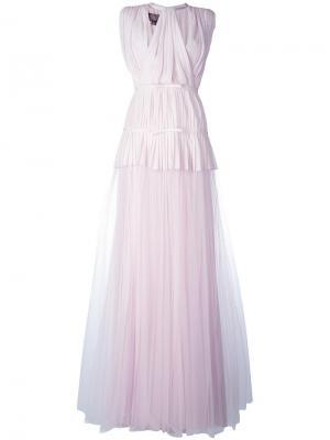Тюлевое плиссированное многослойное платье Giambattista Valli. Цвет: розовый и фиолетовый