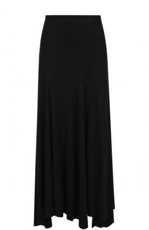 Однотонная шерстяная юбка-макси Yohji Yamamoto. Цвет: черный