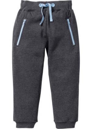 Трикотажные брюки с карманами на молнии (антрацитовый меланж) bonprix. Цвет: антрацитовый меланж