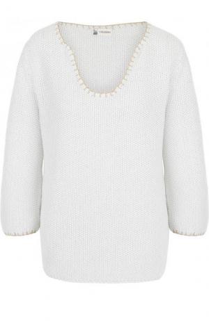Хлопковый пуловер фактурной вязки Colombo. Цвет: белый