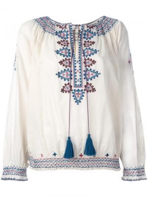 Блузка с вышивкой Talitha. Цвет: телесный