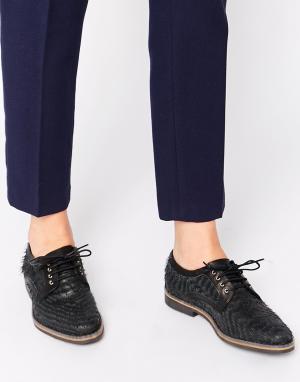 Miista Кожаные туфли на плоской подошве со шнуровкой Hayley. Цвет: черный