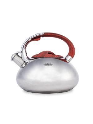 Чайник со свистком нерж. сталь (газ/электро/индукция) 3,5 л Peterhof. Цвет: серебристый, красный