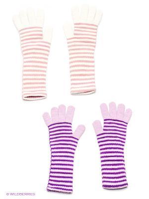 Перчатки, 2 пары FOMAS. Цвет: белый, сиреневый