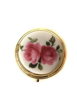 Декоративная шкатулка круглая Английская роза. Reutter Porzellan. Цвет: зеленый, красный, белый