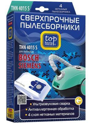 Top  house THN 4015 S Сверхпрочные нетканые пылесборники 4 шт. Цвет: синий
