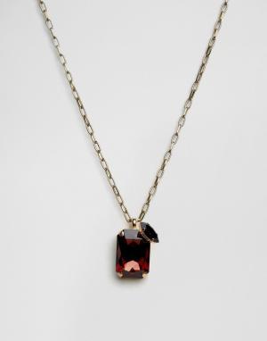 Krystal Ожерелье с прямоугольной подвеской c кристаллами Swarovski. Цвет: красный
