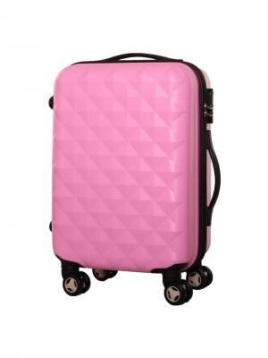 Чемодан пластиковый малый, розовый, 50 л, 36х26х56, PROFFI + антипотеряшка в подарок. Цвет: розовый