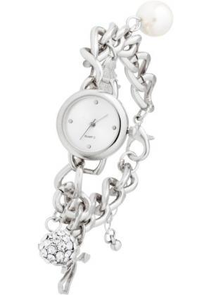 Наручные часы с подвесками (серебристый) bonprix. Цвет: серебристый