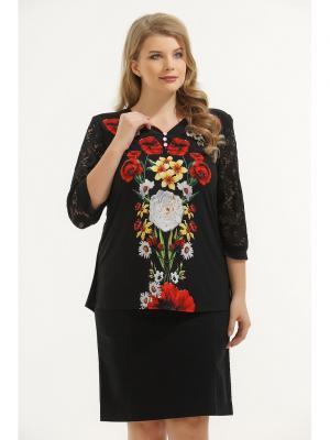 Блузка Maria. Цвет: черный, красный