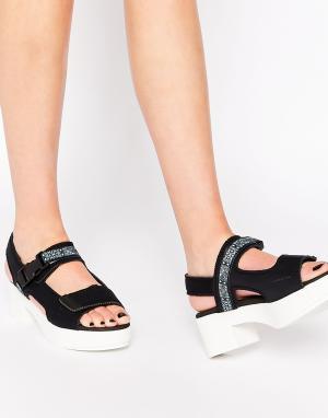 Miista Кожаные сандалии на каблуке Llona. Цвет: серый