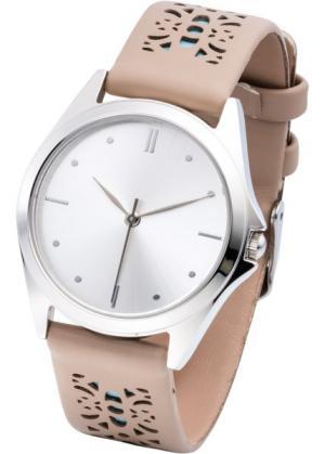 Часы с перфорацией на браслете (песочный/мятный) bonprix. Цвет: песочный/мятный