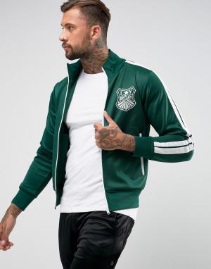 Replay Спортивная куртка с полосками на рукавах. Цвет: зеленый