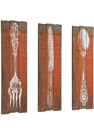 Декор для стен Столовые приборы, 3 части Heine Home. Цвет: бежевый