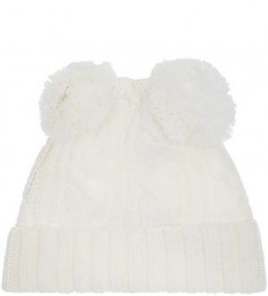 Белая шапка из акрила ALCOTT. Цвет: белый