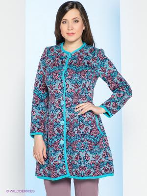 Пальто Milana Style. Цвет: бирюзовый, темно-бордовый