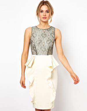 Платье с кружевным лифом Motel  Selena Tempest. Цвет: кремовый