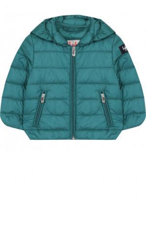 Пуховая куртка с капюшоном Il Gufo. Цвет: зеленый