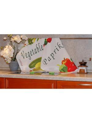 Набор печатных полотенец 2 штуки SET-6 (Перцы, Овощи) в пакете ТекСтиль для дома. Цвет: белый, желтый, зеленый, красный, салатовый