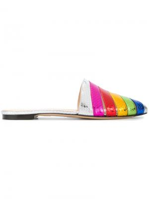 Шлепанцы Technicolour Charlotte Olympia. Цвет: металлический