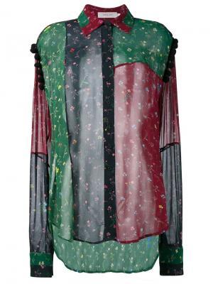 Прозрачная рубашка лоскутного кроя Preen Line. Цвет: многоцветный